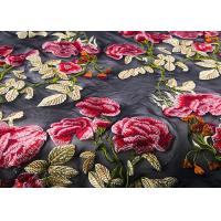 Colorful Embroidered Lace Fabrics , Multi Color Floral Blossom Lace Mesh Fabrics Manufactures