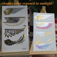 Photochromic Glow In The Dark Temporary Tattoos , UV Effect Temporary Neck Tattoos Manufactures