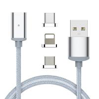 3 in 1 android magnet cable nylon magnetic cable micro usb for mobile phone Manufactures