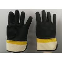 Fine Sandy Finish PVC Coated Gloves Handling Abrasive Materials Liquid Proof Manufactures