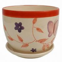 Ceramic Flower Pot with Flowers Painting for Home Decoration, Houseware, OEM Orders are Welcome Manufactures