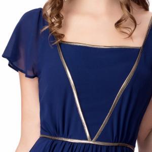 Quality Elegant Chiffon U Neck Womens Summer Maxi Dresses Royal Blue Flare Sleeves Big Sweep for sale