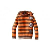 Orange And Brown Stripes Hooded lovely Anti - Piling fabric dyeing hand knitted baby wear Manufactures