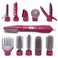 China 10 in1 electric hair straightening brush interchangeable detachable rotating hot air brush professional hair dryer hair on sale