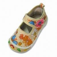 Girls' Canvas Shoe with Rhinestone Ornaments, TPR Outsole, Bone Canvas Lining Manufactures