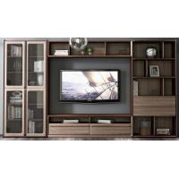 2017 New Walnut Wood Furniture Design Living room Combined TV Wall Units by Tall Cabinets and Floor stand & Hang Racks Manufactures