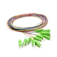 0.9mm Pigtail Single Mode , 1m SC APC Single Mode Pigtail 12 Core For FTTx Network Manufactures