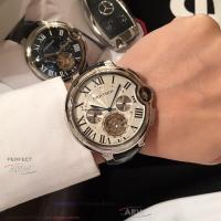 Quality Perfect Replica Cartier Rotonde De White Tourbillon Face Smooth Bezel Dark Brown for sale