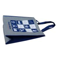 Grey Non Woven Fabric Carrier Bags With Blue Handle Handy shopping bag for Brand Promotion Manufactures