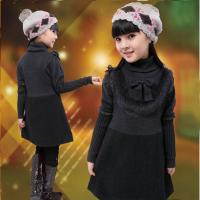 Uneven Grey Turtleneck Little Girls Winter Dresses With Bow 5 Year Old Girl Clothes Manufactures