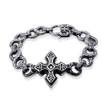 China Men's Vintage Silver Plated 316l Titanium Stainless Steel Chain Cross Bracelet  (JCE147) on sale