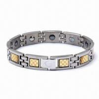China Stainless Steel Bracelet with Magnet, Various Sizes Available on sale