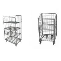 Nesting Rolling Metal Storage Cage / Wire Utility Cart for Logistic Transportation