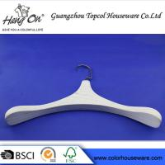 Fashion Female Coat White Plastic Hangers With Nickeling Square Hook