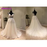 China Lace AppliquesWhite Ball Gown Wedding Dress / Long Beautiful Ball Gown Dresses on sale