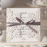 China White Bow Decorative Floral Elegant Printable Wedding Invitations Laser Cut Invitation Card With Blank Paper Envelope on sale