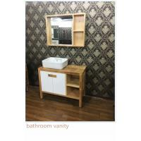 China 100cm Natural Wood Square Sinks Bathroom Vanities , Small Bathroom Vanity With Sink on sale
