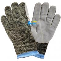 10 Guage Kevlar Camouflage Knitted Shell With Cow Split Leather Sewed Anti Cut Work Gloves Manufactures