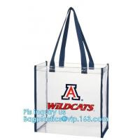 clear vinyl pvc zipper bags with handles, waterproof shopping clear pvc cosmetic handles plastic bag with snap button Manufactures