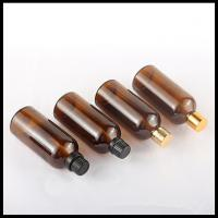 China 100ml Glass Bottles Amber Essential Oil Bottles With Black Gold Cap PE Insert on sale
