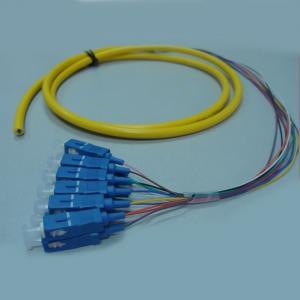 China SC / UPC Fiber Optic Pigtail 12 Fibers / Colors Bundle Pigtail Without Kevlar on sale