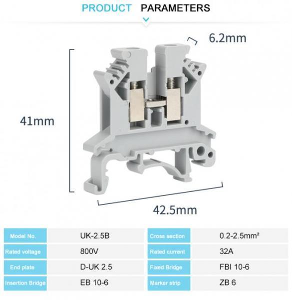 JUK 2.5B Equivalent Electrical Terminal Block Phoenix 2.5mm Screw Connenction IEC 60947-7-1