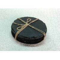 4 Pieces Slate Round Stone Coasters Eco Friendly For Hotel / Restaurant Manufactures