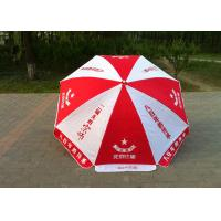 Red And White Branded Promotional Umbrellas With Printed Logo , Dust Resistant
