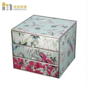 China Three Layers Mirrored Glass Jewellery Box / Glass Earring Box Environment Friendly on sale