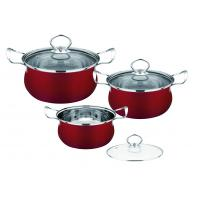 Red Kitchen Pots And Pans Set Easy Cleaning , Durable Stainless Steel Cookware Sets Manufactures
