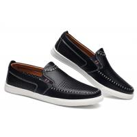 Absorbent Sweat Mens Leather Slip On Loafers Shoes Small Circular Aperture Holes Punched