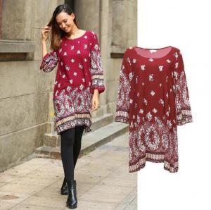 China wholesale guangzhou clothing factory customize bohemia print style dress and blouse on sale