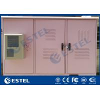 China IP55 Triple Bay Racking Outdoor Telecom Enclosure / Pink Color Three Doors Air Conditioner Cooling Cabinet on sale