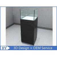 Glossy Black Custom Glass Display Cases , Square Display Pedestals With Cabinet Manufactures