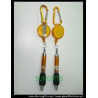 Plastic translucent badge reel with belt clip, carabiner and ball pen