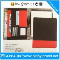 PU luxury custom padfolio / good quality pu leather zipper compendium folder / logo presen Manufactures