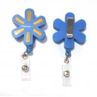 China Plastic Pull Durable Retractable Key Reels Eco-Friendly Flower Shaped on sale