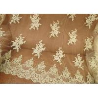 Vintage Corded Floral Gold Bridal Lace Fabric , Embroidered Net Lace Fabric For Gown Manufactures