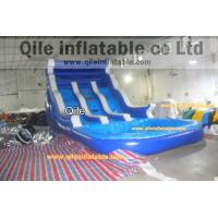 blue inflatable wet & dry slide with pool,pool can removed ,double wave slide Manufactures