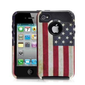 China Hottest Sale Retro USA Flag Iphone 4S Rugged Case TPU+PC Combo Case on sale