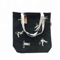 China City Name Printed Black Tote Bag , Grocery Tote Bags With Inside Pockets on sale