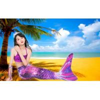 Purple Pink Childrens Mermaid Tails Comfortable Fade Resistant Fabric Mermaid Swimsuit Manufactures