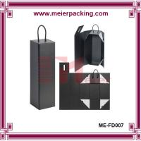 China Single bottle wine box, collapsible folding paper box with cotton handle ME-FD007 on sale