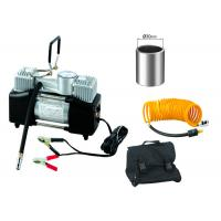 Silver And Black Steel 12v Heavy Duty Air Compressor Double Cylinder With Gauge Manufactures