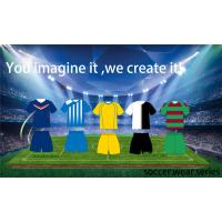 Yellow / Green / White Soccer Team Apparel , Authentic Football Jerseys Manufactures
