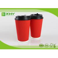 16oz Corrugated Ripple Paper Cups With Lid / Small Thin Ripple Manufactures