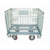 Quality Zinc Finish Rigid Rolling Wire Mesh Cage With Foot Brakes / Castors for sale