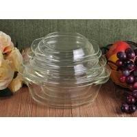 Pyrex Glass Tableware Clear Glass Oven Bowls with Lid , 4 Sizes Heat Resistant Eco-friendly Manufactures