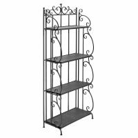 Folding Black Metal Display Shelf / 4 Tier Storage Organizer Solid Structure Manufactures