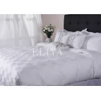 Cotton Hotel Bed Linens Jacquard Checkboard Bed Sheet Set Queen Size , King Size Manufactures